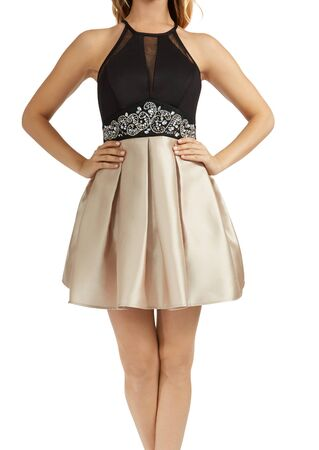 Party Dress With Pockets features sleeveless halter high neckline, illusion mesh V front and sides, beaded empire waist, and pleated satin twill party skirt with pockets. Fully lined, single button and back zipper closure.