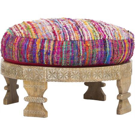 Otomana Barnwell, relleno de poliéster Ligeras variaciones de color, otomana Layla, pavo real, taburete de seda hecho a mano, otomana de seda ...