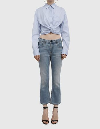 Women's Shirts And Blouses, Night Out Ruched Satin Blouse, Crop Blouse and Slit Pants Set light blue color with white background