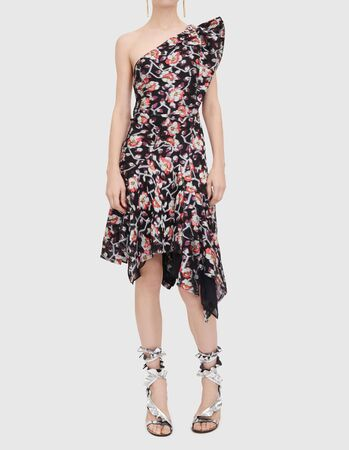 Pleated Tiered Gown in Black, Off-the-shoulder Brocade Ball Gown, Crepe Top Printed Ball Gown, Shirred floral-print silk-chiffon gown