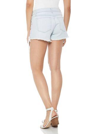Hot White Faded Destroyed Denim Mini Shorts, Hot White Faded Destroyed Denim Mini Shorts