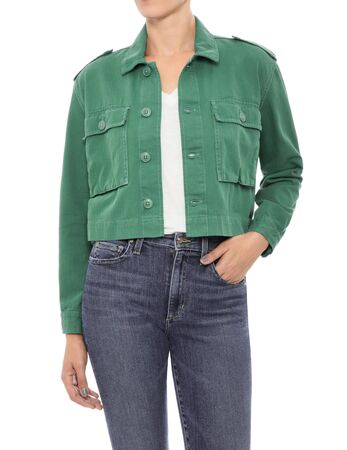 Green Denim casual jacket for women's paired with white t-shirt and denim with white background