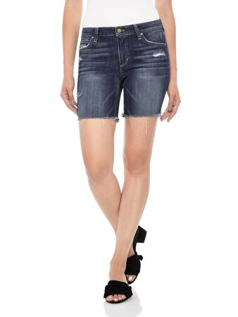 Blue denim ripped shorts for women's paired with white tank top and black footwear with white background, Trendy blue curvy fit denim shorts with white background, machine Destroyed Denim Mini Skirt - Front Cropped Image Reklamní fotografie
