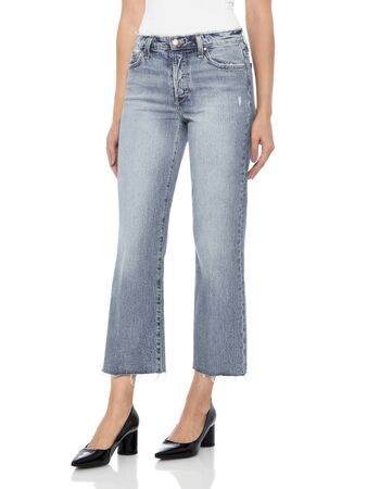 Crease & Clips Slim Women's Light Blue Jeans, Blue casual denim for women's with design of edges paired with black footwear and white background,
