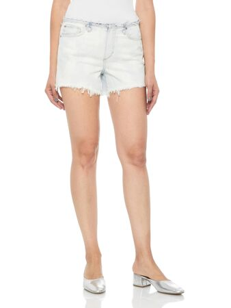 White ripped denim shorts for women's paired with silver heels and white background, Mid Wash Ripped Denim High Shorts for Women, Bombshell High Waist Cutoff Denim Shorts, High Waist Acid Wash Ripped Distressed Shorts.