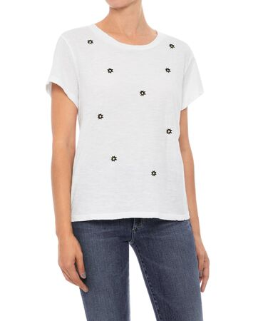 Casual white top for women's paired with black pant and white background
