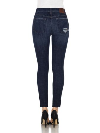 Denim Jeans Denim High Waist Hose Slim Fit Jeans, Skinny Fit Jeans Light Blue Denim, Loren Distressed Rip Knee Skinny Jeans with white background Zdjęcie Seryjne - 134744501