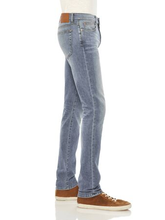 Blue casual double shaded denim for men's paired with white sneakers and white background, Casual denim with knee cut paired with white sneakers and white background,