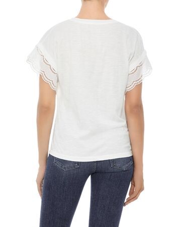 Casual white top for women's paired with black pant and white background.. Archivio Fotografico