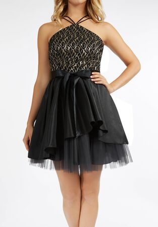 two halter lace top and mesh skirt, Black Juniors Sleeveless Floral A-Line Skirt Dress