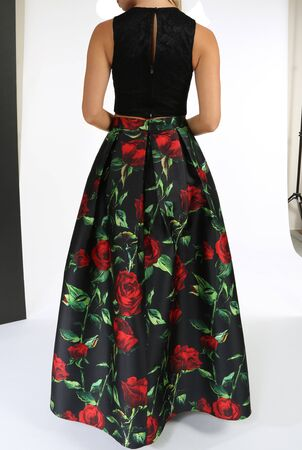 Two-Piece Sleeveless Lace Crop Top and Printed Long Skirt Dress, Two-Piece Sleeveless Lace Crop Top and Printed Long Skirt Dress