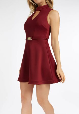 Elegant red one piece sleeveless dress with flared bottom - with white background, Latest Design Short Frocks For Girl, San Francisco Cowl Neck Satin Dress , Red Dresses | Red Lace Dress, Long Red Cocktail Dresses Stock Photo