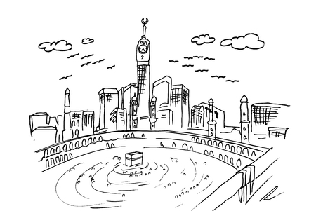 vector hand draw sketch of mecca, kabahh Stok Fotoğraf