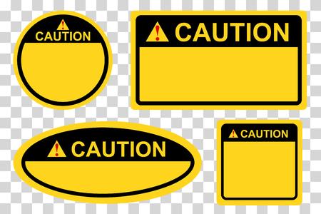 vector círculo, rectángulo, cuadrado y ovalado amarillo y negro signo de precaución en blanco