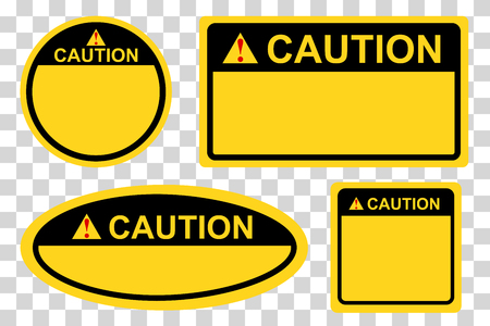 vector circle,rectangle, square and oval yellow and black blank caution sign