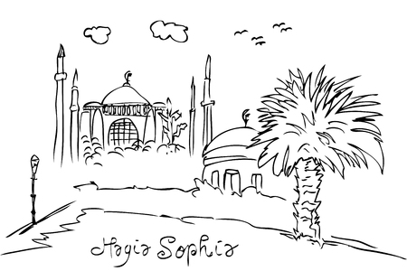 vector simple sketchy hagia sofia historical building, istambul turkey eye level view Stok Fotoğraf