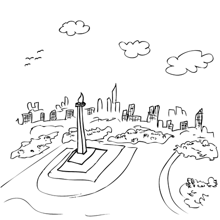 vector view from top simple sketch of monas, jakarta indonesia capital city icon and other building Stok Fotoğraf
