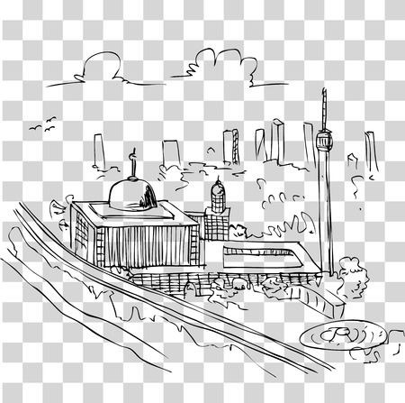vector simple sketchy istiqlal mosque, view from top Stok Fotoğraf