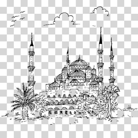 vector simple sketchy blue mosque historical building, istambul turkey