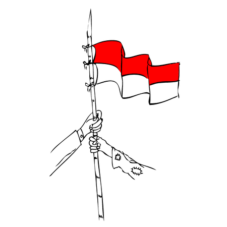 vector poor and rich man holding sharp bamboo with indonesia flag, element design for indonesia independence day