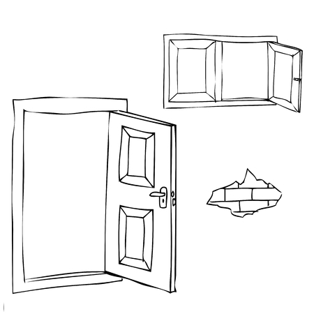vector simple sketch of opened door, window and brick