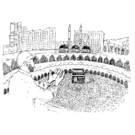 vector sketch of Muslim, (Islam man) Pray in front of Kaaba in Mecca Saudi Arabia