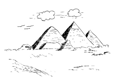 vector hand draw sketch of pyramid