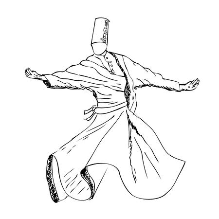 vector sketchy sufi dancer, turkey Stock Photo