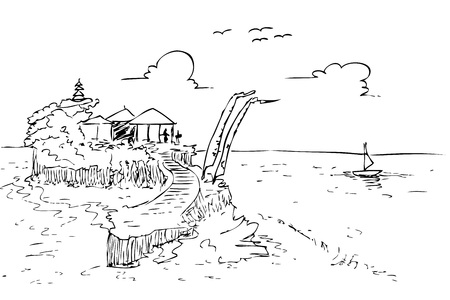 hand draw sketch of Lot Land bali beach and temple, indonesia Stok Fotoğraf