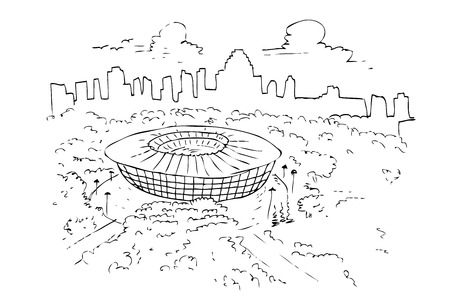 vector hand draw sketch of gelora bung karno or senayan sport stadium Фото со стока