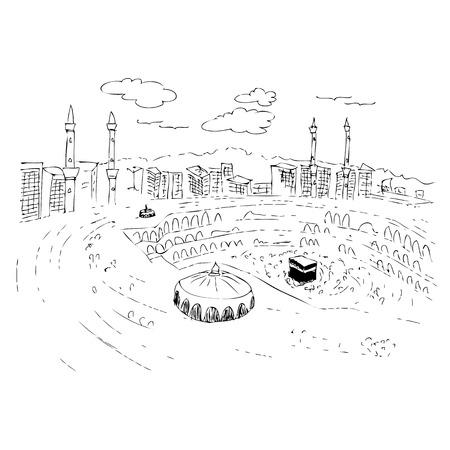 vector sketch of Kaaba in Mecca Saudi Arabia