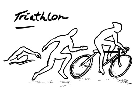 vector hand draw sketch of triathlon, swim, bike and run
