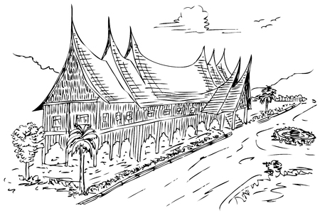 vector sketch of gadang house, west sumatera traditional building, indonesia