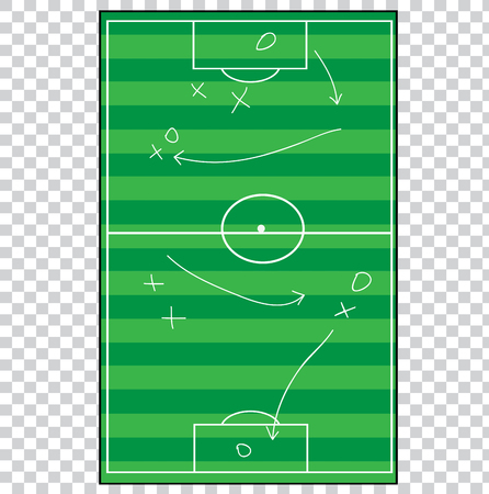 Flat Lay Football Goal Strategy at Transparent Effect Background