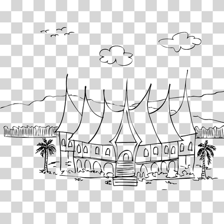 vector simple sketch of gadang house, west sumatera traditional building, indonesia