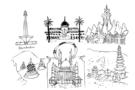 hand draw sketch landmark and iconic indonesia