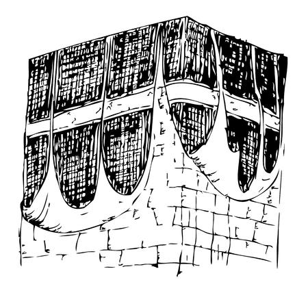 vector sketch of Old Kaaba in Mecca Saudi Arabia Imagens