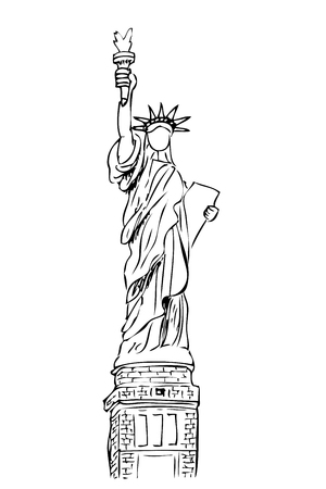 vector hand draw sketch of liberty statue