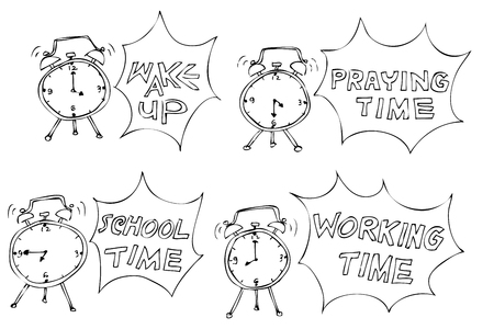 simple sketch Clock Schedule, wake up, school, praying, working time