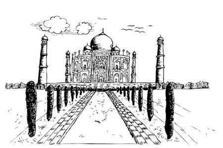 hand draw sketch of taj mahal india