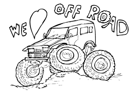 simple sketchy illustration off road lover, isolated on white Stok Fotoğraf