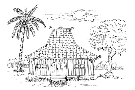 Simple sketch of Traditional Joglo House, central Java, Indonesia