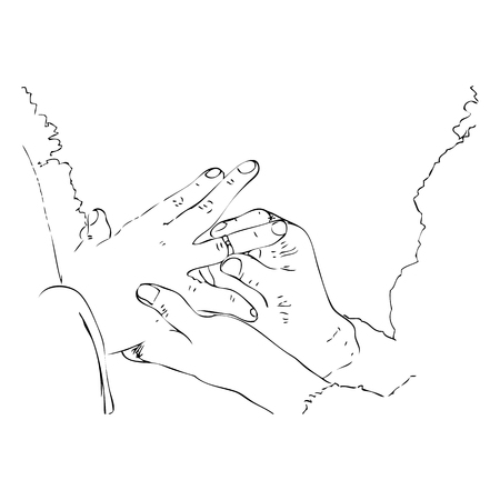 Vector Simple Outline Manual Draw Hand Engagement, man give a wedding ring to a his woman
