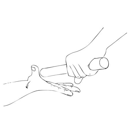 Atleta de mano de dibujo manual de contorno simple de vector pasando un bastón al compañero
