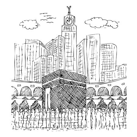 Vector Manual simple sketch of Kaaba in Mecca Saudi Arabia