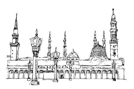 Vector simple sketchy nabawi mosque, saudi arabia