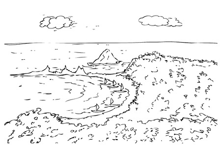 Vector hand draw sketch of karang bolong beach, west java indonesia  Stock Photo