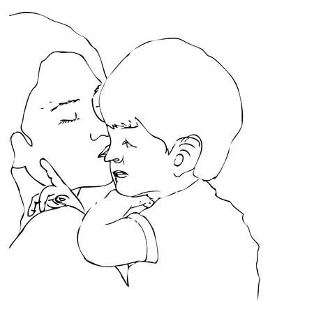 Vector Very Simple Manual Drawing, Mother kiss her son, Illustration for motherhood, isolated on white