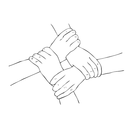 Vector 4 hand holding Arm Each other, illustration for team work, isolated on white