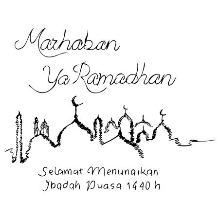 Simple Vector Manual Draw Sketch Templat Greeting Marhaban, Welcom Ramadhan 2019